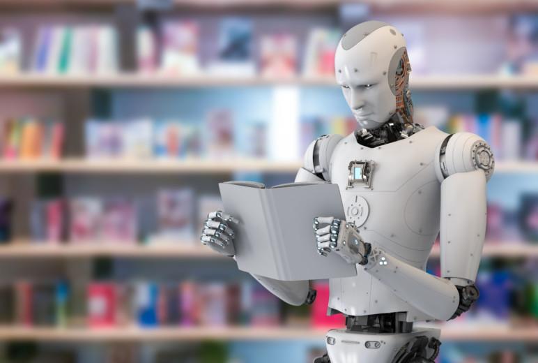Buch lesender Roboter