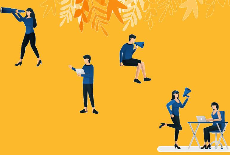Illustration mit Figuren zum Thema Sicherheit von Zeitarbeit